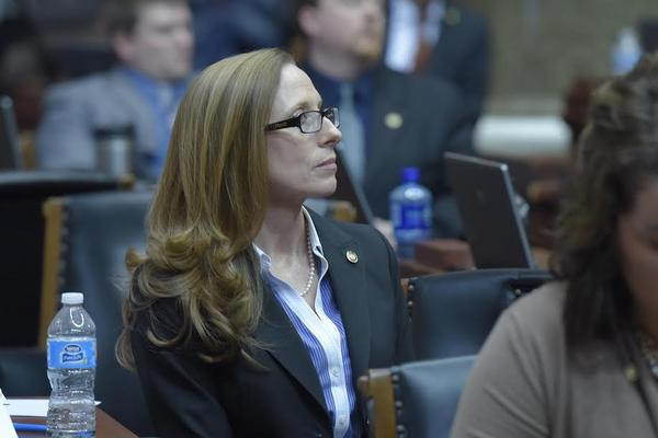 Rep. Holly Rehder, House bill sponsor of right to work, listens to debate over right to work on Wednesday.