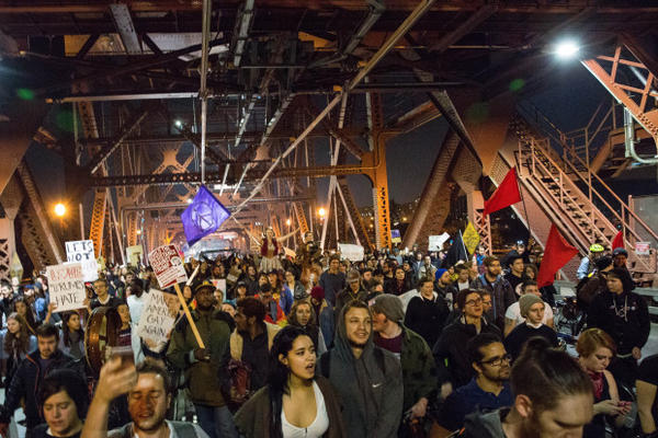 <p>A third night of protests took place in Portland on Nov. 10, 2016, as crowds demonstrated against the election of Donald Trump as well as other issues.</p>