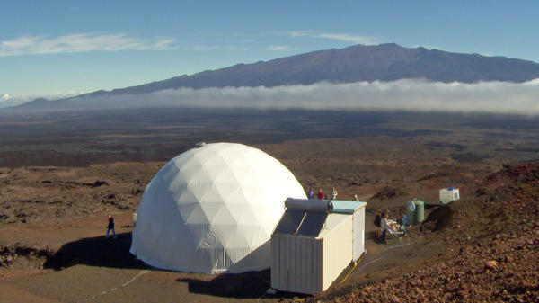A solar-powered dome sits on the side of Hawaii's Mauna Loa volcano is part of an experiment in Mars-like living.