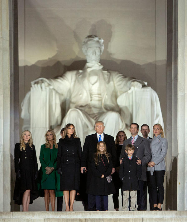 The Trump family stands in front of the Lincoln Memorial.