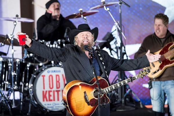 Country singer Toby Keith performs for Trump and his family during a welcome celebration at the Lincoln Memorial.