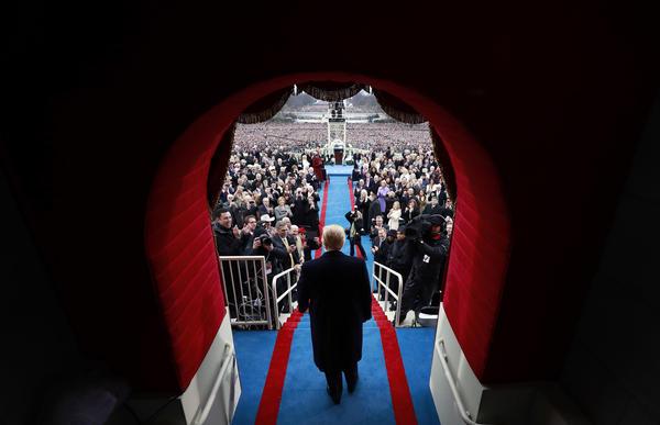 Donald Trump arrives at his inauguration at the Capitol.