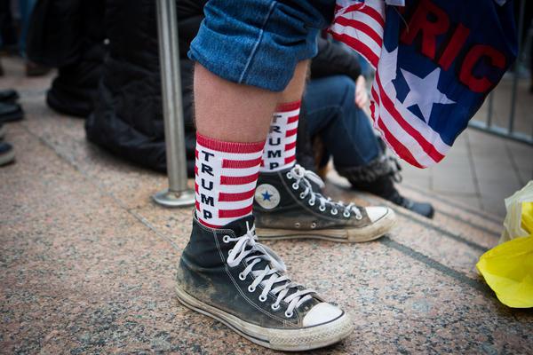A spectator sports Trump-themed socks near the National Mall.