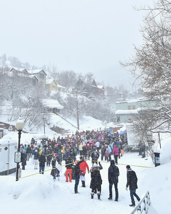 Protesters at the start of the Women's March on Main Street in Park City, Utah.