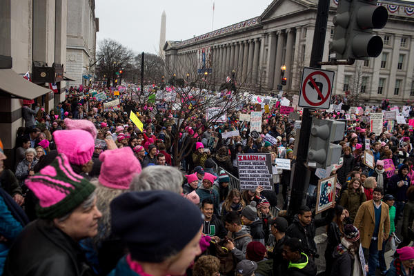 Protesters march near the U.S. Department of the Treasury.