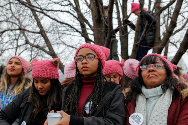 Nia (center) and Lonia Brown traveled from California to join the Women's March on Washington.