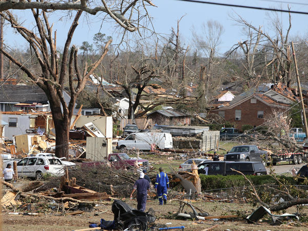 Damaged trees and homes are scattered along Magnolia Street in Hattiesburg, Miss., after a tornado struck on Saturday.