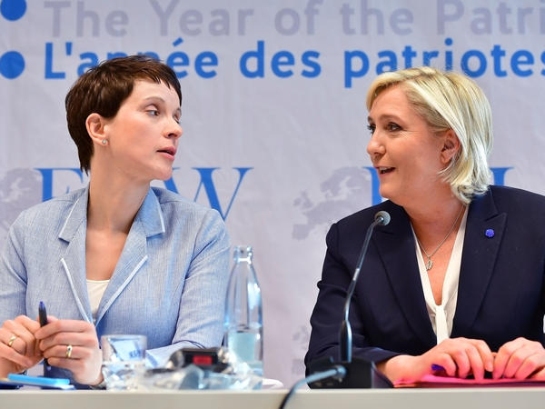 Frauke Petry, co-chair of Germany's Alternative for Germany party, and Marine Le Pen, who heads France's far-right National Front attended a conference of European right-wing parties in Koblenz, Germany. France, the Netherlands and Germany all face national elections this year and in each case right-wing populists are in a strong position.