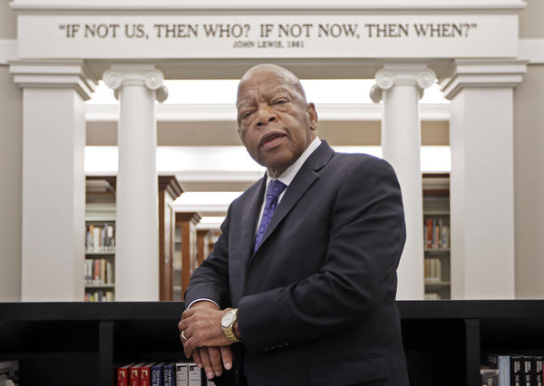 Rep. John Lewis stands in the Civil Rights Room in the Nashville Public Library in Nashville, Tenn. The American Library Association announced Monday that the Georgia Democrat received four prizes Monday for <em>March: Book Three</em>, the last of a graphic trilogy about his civil rights activism and winner last fall of a National Book Award.