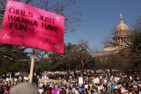 A view of the south steps of the Texas State Capitol building during the march.