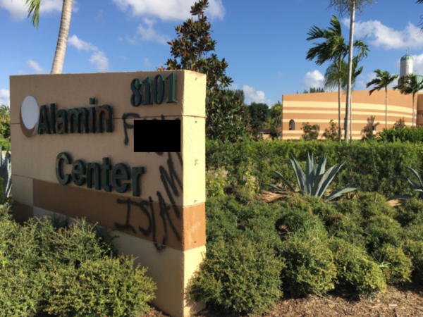 "A vandal spraypainted ""F--- Islam"" on the sign outside the Al Amin Islamic Center in Boynton Beach in November."