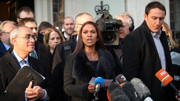 """Only Parliament can grant rights to the British people — and only Parliament can take them away,"" says lead claimant Gina Miller, seen here speaking outside the Supreme Court in London on Tuesday. Judges sided with Miller in her case seeking to block Prime Minister Theresa May's plan to trigger Brexit."