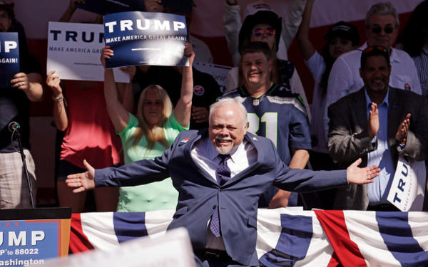 <p>Former Sen. Don Benton, R-Vancouver, introduced Republican presidential candidate Donald Trump at a rally Saturday, May 7, 2016, in Lynden, Wash.</p>