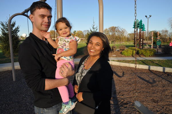 Alycia Wilson with her husband, Zach, and daughter, Kyla, in Edwardsville, a few days after the election. Wilson, a Trump voter, said she hopes for a repeal of the Affordable Care Act.