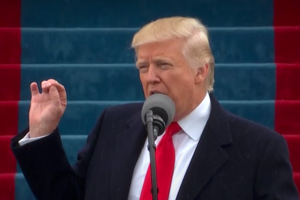 President Donald Trump speaking at his inauguration on Jan. 20, 2017.