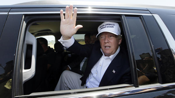 Then-candidate Donald Trump tours the World Trade International Bridge at the U.S.-Mexico border in Laredo, Texas, in 2015.