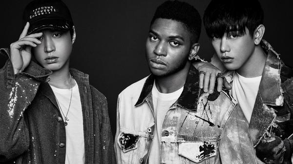 "Gallant (center) collaborates with Korean musicians Tablo (left) and Eric Nam on the new song ""Cave Me In."""