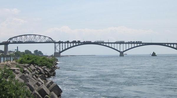 The Peace Bridge connects Buffalo, New York to Fort Erie, Ontario in Canada
