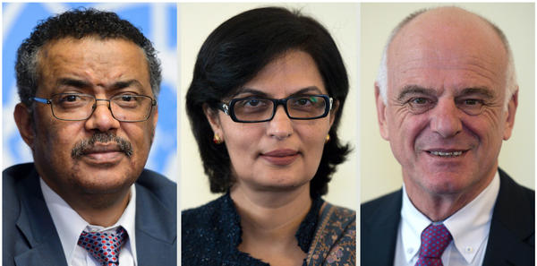 The World Health Organization's finalists for the next director-general (from left): Tedros Adhanom Ghebreyesus, Sania Nishtar and David Nabarro