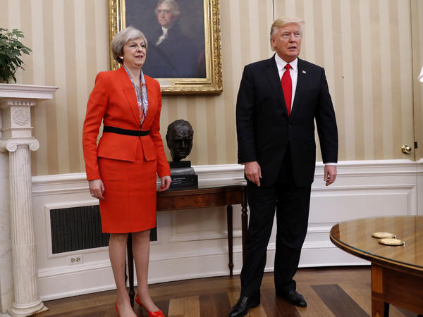 President Trump and British Prime Minister Theresa May, in the Oval Office on Friday before a private meeting.