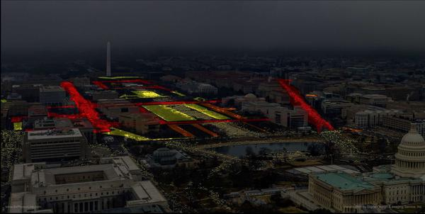 An overlay of a high-resolution photograph of the Women's March shows crowd density. Red areas are the highest density, followed by orange and yellow. In all the photo suggests about 440,000 people attended the march.