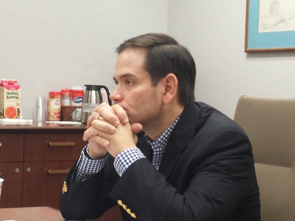 U.S. Senator Marco Rubio listens to SW Florida citrus growers discuss concerns/status of industry