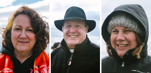 (From left) Sue Thayer of Storm Lake, Iowa; Father Don Bedore from Kansas; and Mary Lou McGrath from Pawling, New York, all attended the March for Life on Friday, but came with varying view points on what they expect from Donald Trump's presidency.