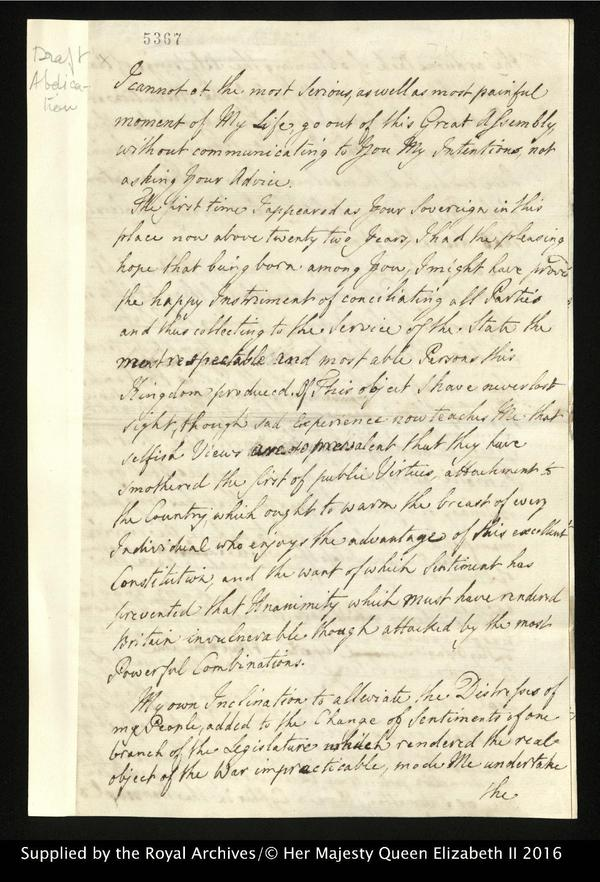 A page from the draft of George's would-be abdication letter, which he wrote in 1783 but never sent.