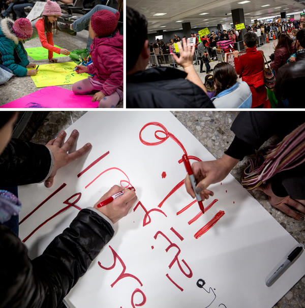 "(Top left) Miranda Van Hemert, 11; Lori Stearns, 9; and Norah Van Hemert, 7, make signs on the floor of the international arrivals waiting area at Dulles International Airport. (Right) Demonstrators Dulles cheer passengers exiting international flights. (Bottom) Volunteers at Dulles make a sign in Arabic on Sunday, which reads ""free legal help."""