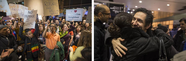 <strong>(Left)</strong> Protesters rally against the travel ban at Logan International Airport in Boston. (<strong>Right)</strong> Mazdak Tootkaboni is a U.S. Green Card holder from Iran and a professor at the University of Massachusetts at Dartmouth. Traveling back to the U.S. from France after the ban, he was separated from other passengers and questioned.