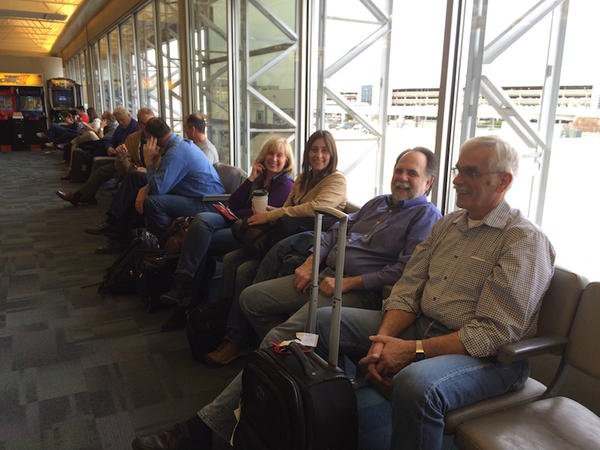 North Idaho Republican lawmakers wait for their flight home at the Boise airport during the 2015 legislative session. From right: Rep. Ron Mendive, Rep. Vito Barbieri, Rep. Heather Scott, and Sen. Mary Souza.