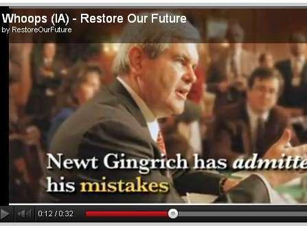 A screen grab from an anti-Newt Gingrich ad from the pro-Mitt Romney super PAC Restore Our Future.