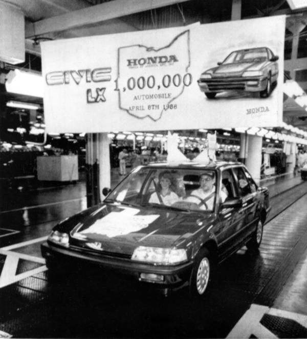 Al Kinzer, who was Honda of America's first employee, drives the company's one millionth U.S.-produced car off the assembly line at Honda's assembly plant in Marysville, Ohio, April 8, 1988.