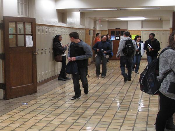 Students in Central High School walk through the hallways between classes.