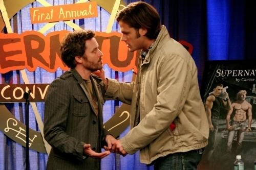 "Jared Padalecki plays Sam Winchester (right), one of the stars of the series <em>Supernatural. </em>The Winchester brothers also star in the series-within-the-series, which is --€"" meta alert! --€"" also called <em>Supernatural. </em>Here, Sam talks to the (fictional) series author at a (fictional) convention for (fictional) rabid fans."