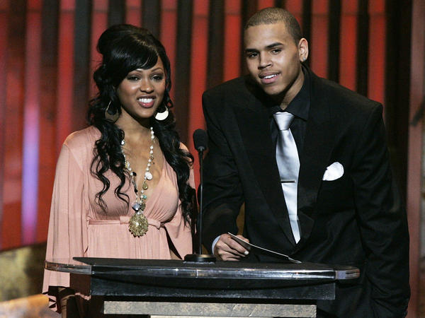 Actress Meagan Good and actor Chris Brown present an award during the 37th Annual NAACP Image Awards on Feb. 25, 2006