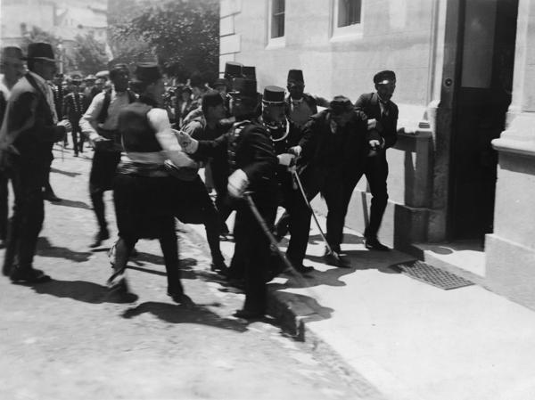 This image, captured by amateur photographer Milos Oberajge on June 28, 1914, was once believed to show Sarajevo police arresting successful assassin Gavrilo Princip. It's now thought to show the arrest of failed co-conspirator Nedeljko Cabrinovic.