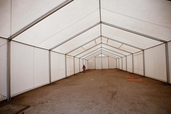 This tent will shelter 100 of the 300 beds at the Ebola treatment unit for the general public.