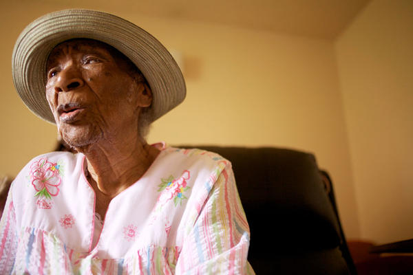 """Susie Mushatt-Jones, now 115, is a Vandalia Houses resident. She was a domestic worker for most of her life, including a stint with the family of a prominent Paramount Studios executive while living in Hollywood. She put four of her nieces through college and one through graduate school, all on her small salary. When asked why, she said, """"Because I wanted them to have what I didn't have."""""""