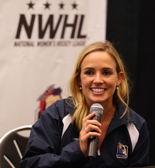 Dani Rylan, commissioner and founder of the National Women's Hockey League, speaks in September in Brooklyn, N.Y.