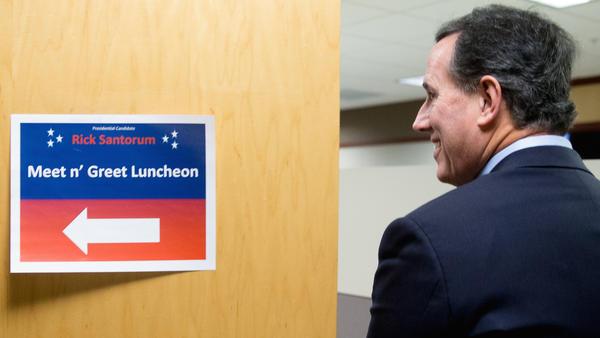 Former Pennsylvania Sen. Rick Santorum campaigning in Des Moines, Iowa.