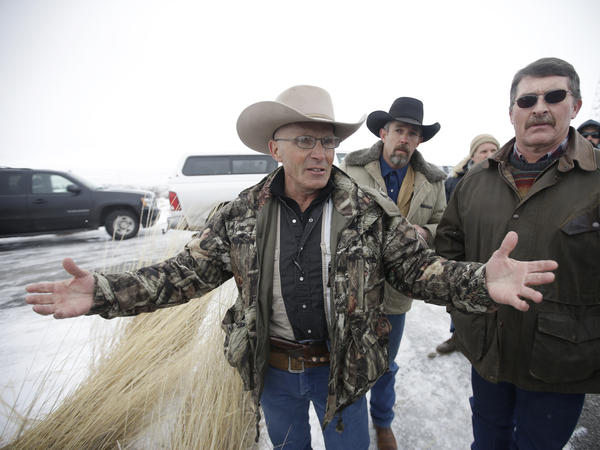 "Robert ""LaVoy"" Finicum speaking to journalists earlier this month at the Malheur National Wildlife Refuge near Burns, Ore."