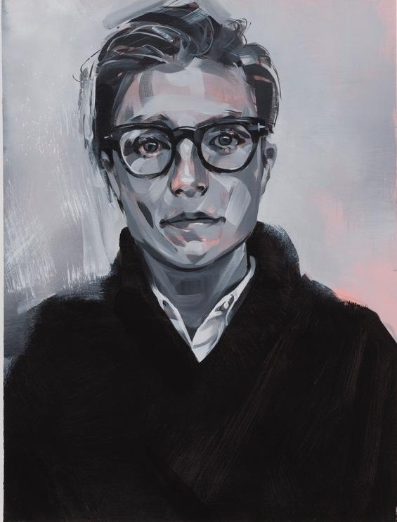 "All of Campbell's portraits — including this one of L.A. artist <a href=""http://www.liahalloran.com/"" target=""_blank"">Lia Halloran</a>, above — are done in black, white, grays and salmon pink. Campbell calls this her ""vocabulary of marks and tones and textures."""