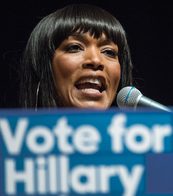 Angela Bassett talks to students at South Carolina State University while campaigning for Democratic presidential candidate Hillary Clinton earlier this month.