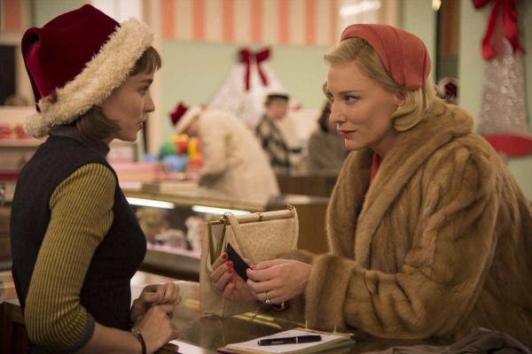 "Cate Blanchett's blonde mink coat in <em>Carol </em>was actually made of bits of many coats. ""There's something about rich people wearing light colors that denotes luxury and sophistication,"" says British costumer Sandy Powell."