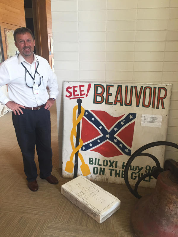 "Greg Stewart is executive director of Beauvoir, the former Biloxi, Miss., home of Confederate President Jefferson Davis. Stewart wants to preserve the Mississippi state flag with its Confederate emblem. ""When you're asking me to take it down because those people were so bad, those people were my ancestors."""