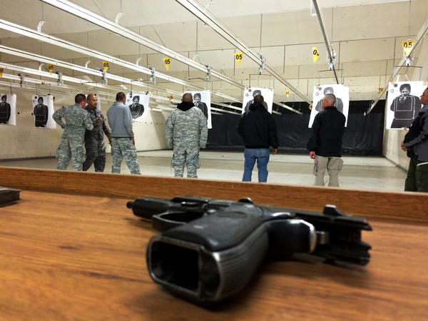 Cadets at the state police academy in Chihuahua, Mexico work to improve their shooting skills.