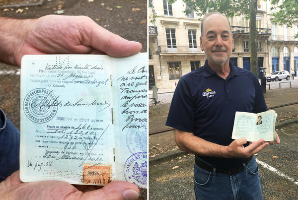 "Retired U.S. newspaper editor Rebel Good (right) holds his Dutch-born mother's passport, showing the signature of Sousa Mendes. His mother never spoke about her escape from Europe. After her death, ""I opened the passport up to the center, and the visa was there with Aristides de Sousa Mendes' signature on it,"" says Good. ""It was a very moving and chilling moment."""