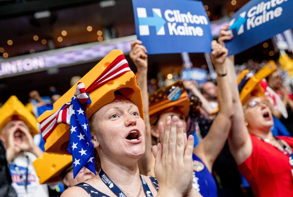 "Karla Stoebis, who came to the convention as a Sanders supporter, now wishes her ""strong Democratic grandmothers"" were here to witness history."