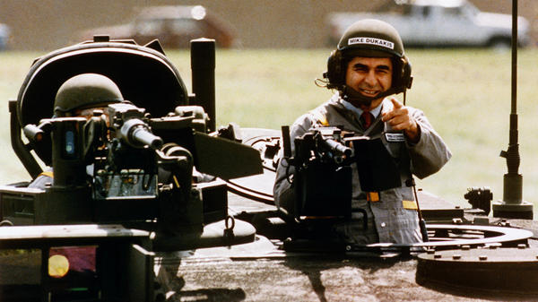 1988 Democratic presidential candidate Michael Dukakis, in one of the most ill-fated photo ops in recent political history.